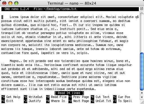 Edition d'un fichier texte avec nano dans le terminal