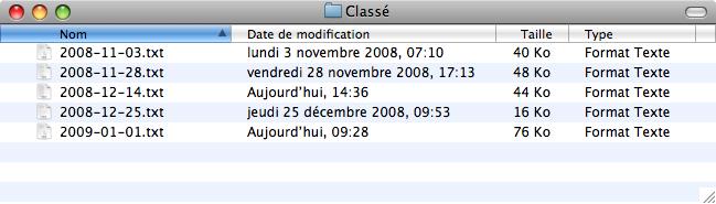 Capture d'un dossier dont les fichiers sont classés.
