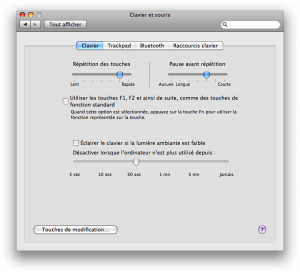 """Préférence système """"Clavier et souris"""" de Mac OS X 10.5"""